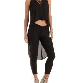 Beaded V-Neck High-Low Tank Top by Charlotte Russe - Black