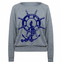 Womens Anchor Ship Wheel Tri-Blend Pullover Raglan - American Apparel - S M and L (8 Color Options)