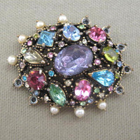 Hollycraft Rhinestone Brooch 1951 Hollycraft Minor Repair