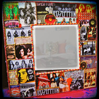 Led Zeppelin embellished wall mirror - 1970's rock n roll decor - jimmy page - robert plant - john bonham - music memorabilia - classic rock