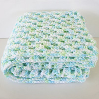 Granny Square Baby Blanket In Mint Blue, Green, and White By OneStitchDesigns