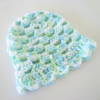 Boy Newborn Baby Hat in Blue, Green, and White Granny Style By OneStitchDesigns
