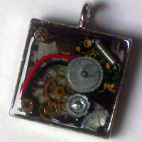 Techie / Steampunk Square Resin Pendant