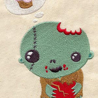 Adorable baby zombie embroidered feeding bib by MorningTempest