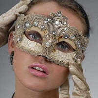 Champagne Gold Luxurious &amp; Sexy Lace Masquerade Ball Mask