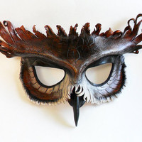 Great Horned Owl Leather Mask