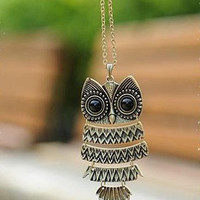 owl  necklace-antique brass