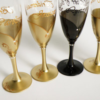 Wedding party  champagne glasses Hand painted , gold , crystals,  bridesmaids dresses