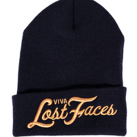 Viva Lost Faces Navy/Gold Beanie