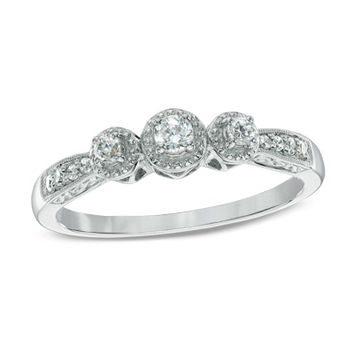 1/5 CT. T.W. Diamond Past Present Future® Promise Ring in 10K White Gold