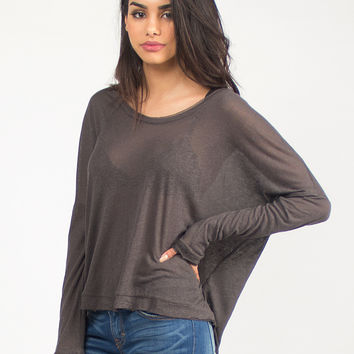 Semi Sheer Comfy Long Sleeve Top - Small - Charcoal /
