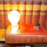 Book Lamp made from vintage and antique parts by BookEndDesigns