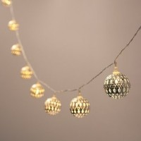 Battery Operated Silver Moroccan Orb LED Fairy Lights with 10 Warm White LEDs