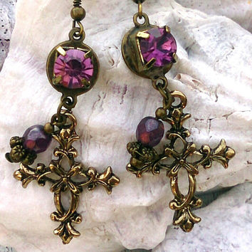 Antique Gold Cross Purple Earrings Religious Christian Jewelry