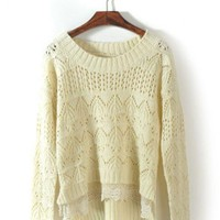 Beige Hollow Long Sleeve Sweater $41.00