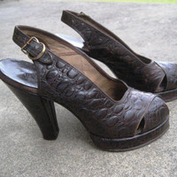 Forties alligator leather peep toe shoes pumps by posypower
