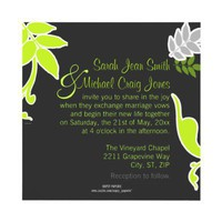 Lime Flora Informal Wedding Invitation