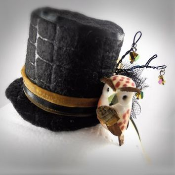 Handmade Mini Top Hat Hair Clip Fascinator with Owl, Wire Branches, Crystal Dangles, Ribbons, Embossed Felt, Tulle | Creative Caboodle
