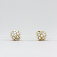 Gold Pearl Cluster Stud Earrings - One