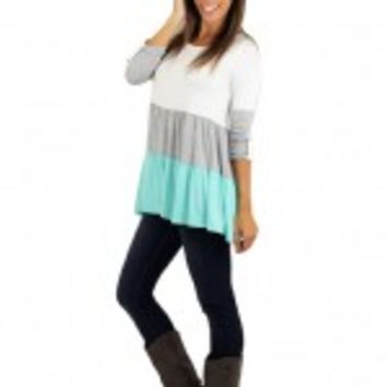 Mint And Gray Color Block Top