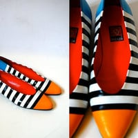 Vtg sz 8 Color Block Mondrian Striped Black White Yellow Blue Flats