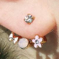 Butterfly and Flower Earrings Wrap around Charms & Stems Pair