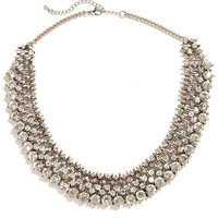 Cold as Ice Silver Rhinestone Statement Necklace