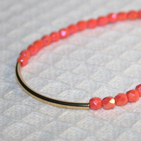Coral Pink Curved Golden Tube Bar Stacking Bracelet, Coral Opaque Luster faceted Czech beads & Gold Tube Dainty Everyday Friendship Bracelet
