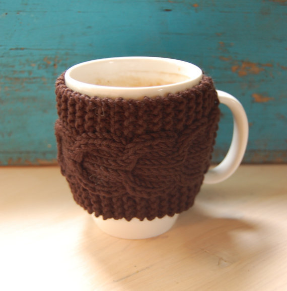 Knit coffee mug cozy with cable pattern, from MaruWool on Etsy