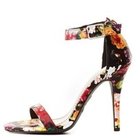 Floral Single Sole Ankle Strap Heels by Charlotte Russe - Black Multi