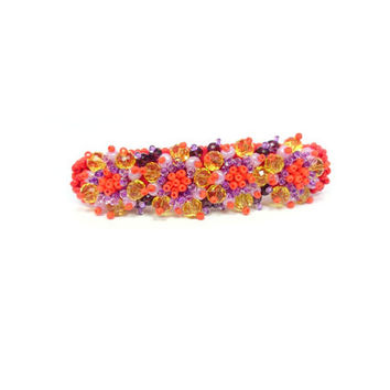 Orange lilac Embroidered Hair barrette Latvian designer Jewelry bead embroidery Handmade red Bobby Pin  Valentine's Day Gift for HER OOAK