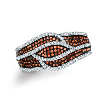 1/2 CT. T.W. Enhanced Cognac and White Diamond Layered Waves Ring in 10K Rose Gold