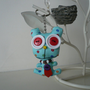 Bear keychain blue plush animal kawaii tie button eyes miniature