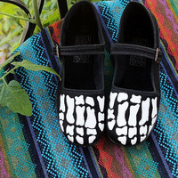 Women's Skeleton Painted Black Maryjanes