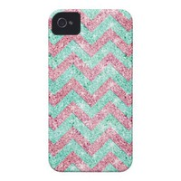 Chevron Pattern, pink &amp; teal glitter photo print Iphone 4 Covers from Zazzle.com