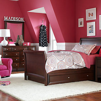Ivy League Cherry 6 Pc Full Sleigh Bedroom