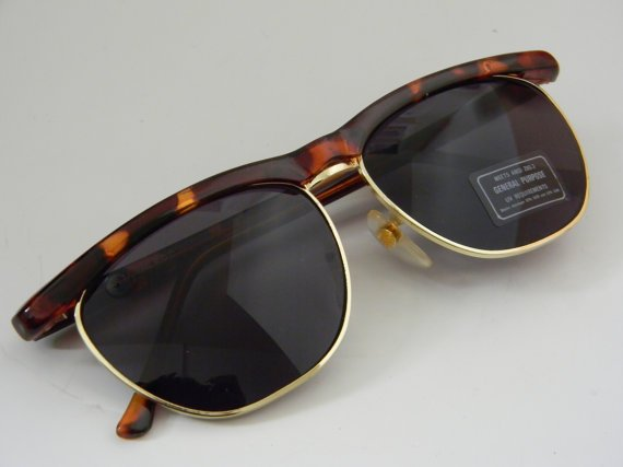 Vintage Deadstock Rimless CLUBMASTER Sunglasses TORTISE with gold trim