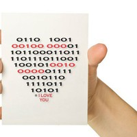 Nerd Love Computer Card - Binary Code Heart - Red and Black 5 x 7 - Valentines Day