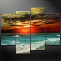4 Panel Blue Wall Art Painting A Seagull Fly Across Colorful Sky Fantanty Green Sea Pictures Prints On Canvas Seascape The Picture Decor Oil For Home Modern Decoration Print
