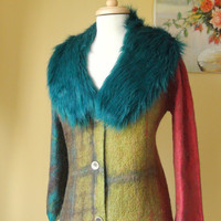 Nuno felted short  jacket, cardigan.. Reversible 2 in 1,th removable faux fur collar