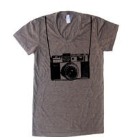 Women's Vintage Camera T Shirt - American Apparel 50/50 Poly Cotton - S M L XL (20 Color Options)