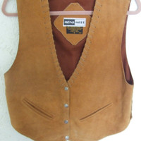 Vintage Boho Tan Leather Vest