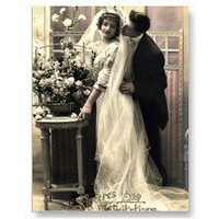 Bride & Groom Vintage Wedding Photo Postcard