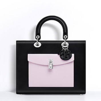 "LARGE ""LADY DIOR"" BAG BLACK LAMBSKIN WITH CONTRASTING POCKETS"