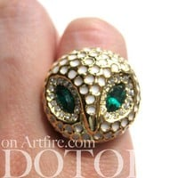 Owl Madness - Owl Bird Animal Ring in Gold Available in Sizes 6 to 8