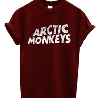 New Arctic Monkeys T-shirt Rock Band (Medium, Maroon)