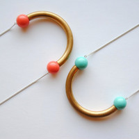 Aqua and Vintage Brass Curve Necklace - Summer & Fall Fashion Jewelry - Free Shipping in the US