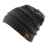 Trendy Warm Chunky Soft Stretch Cable Knit Slouchy Beanie Skully HAT20A,One Size,Gray