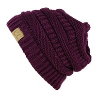 Trendy Warm Chunky Soft Stretch Cable Knit Slouchy Beanie Skully HAT20A,One Size,Deep Purple