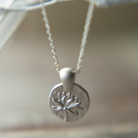 Lotus Purity Necklace in Matte Silver
